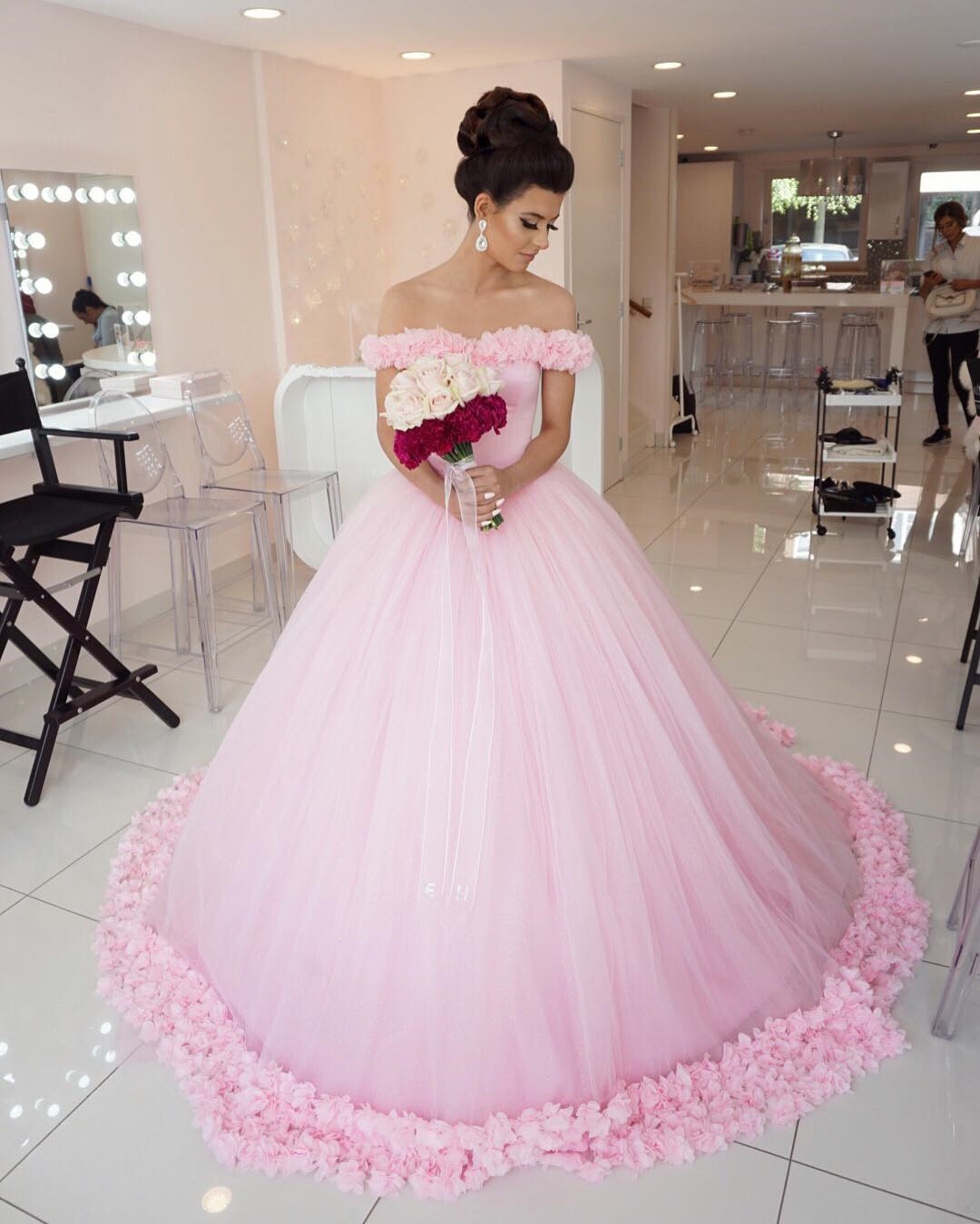Pink Wedding Dresses Princess : Wedding dress pink cap sleeve princess handmade flower