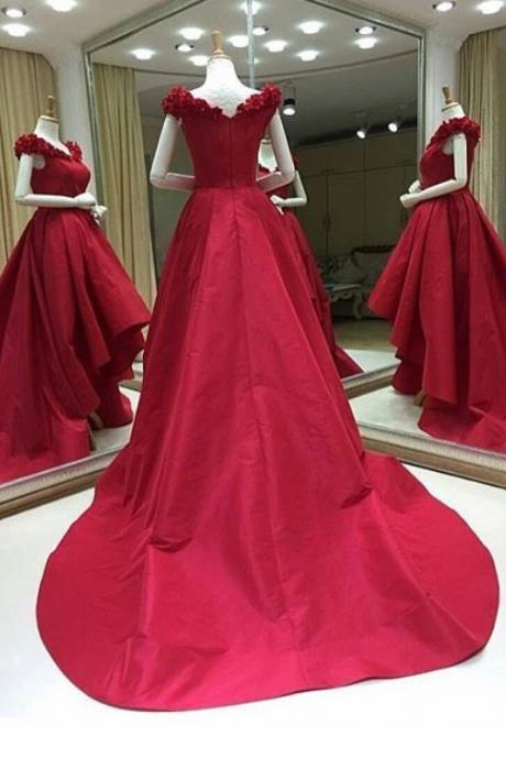 Flowers Appliques Prom Dresses,Sweep Train High Low Prom Dresses,Taffeta Evening Dresses,Elegant Evening Party Dresses,Burgundy Prom Dresses