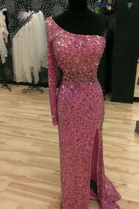 One Shoulder Sequins and Crystal Evening Dresses,Bling Bling Prom Dresses,Luxury Evening Party Dresses
