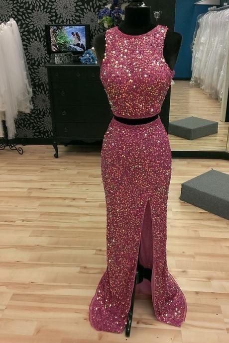 Sequin Two Piece Prom Dresses,Shinning Prom Dresses,Side Slit Prom Dresses,Unique Prom Party Dresses