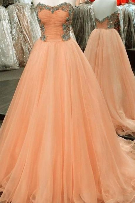 Peach Ball Gowns Prom Dresses,Beads Prom Dresses,Layered Tulle Prom Dresses,Graduation Prom Dresses