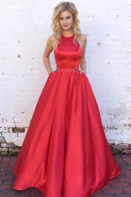 Long Satin Prom Dresses,Crystal Belt Prom Dresses,Ball Gowns Prom Dresses,Red Prom Dresses,Royal Blue Prom Dresses Satin
