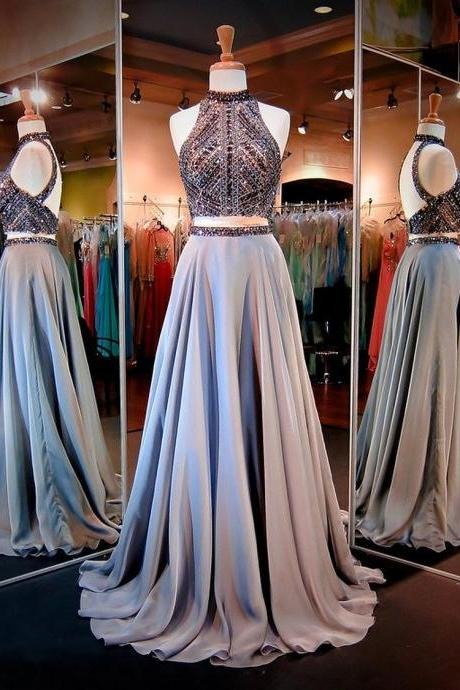 Luxury Prom Dresses,Two Piece Prom Dresses,Backless Sexy Prom Dresses,Crystal and Beads Halter Prom Dresses Long