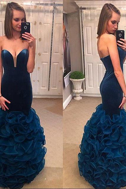 Velvet and Organza Dresses for Prom,Navy Blue Mermaid Evening Gowns,Formal Dresses,Burgundy Prom Dresses
