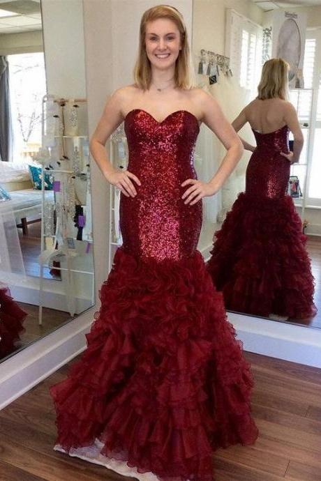 Mermaid Prom Dresses,Sequins Prom Dresses,Black Prom Dress,Burgundy Prom Dresses,Ruffled Organza Prom Dresses