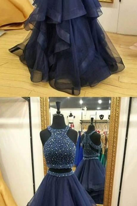 Navy Blue Two Piece Prom Dresses,Beaded Prom Dresses,Layered Organza Graduation Dresses