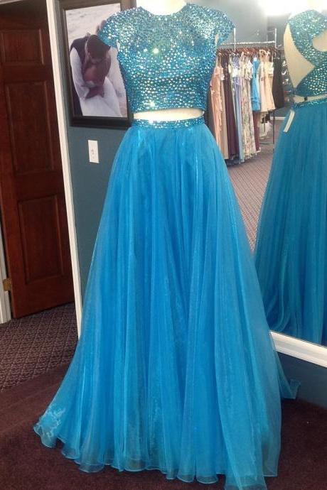 Short Sleeves Prom Dresses,Voile Prom Dresses,Two Piece Prom Dresses,Crystal Prom Dresses Long,Open Back Graduation Dresses,Junior Prom Dresses