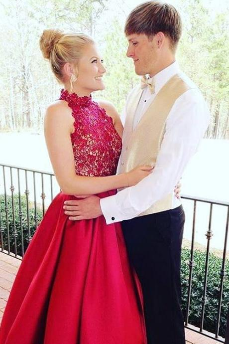 Red Prom Dresses,Lace Top and Satin Skirt Two Piece Prom Dresses,Formal Dresses,Wedding Party Dresses,Engagement Prom Dresses,A Line Prom Dresses