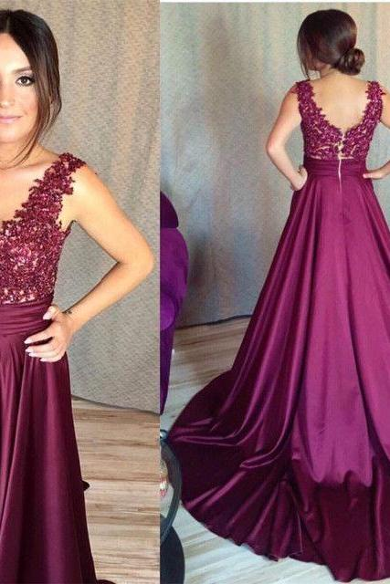 Lace Appliques A Line Prom Dresses,Wedding Prom Dresses,Formal Dresses Long