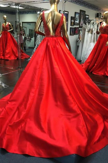 Sexy Evening Dresses,Red Capet Dresses,Shinning Crystal and Beads Prom Dresses,Sweep Train Evening Dresses