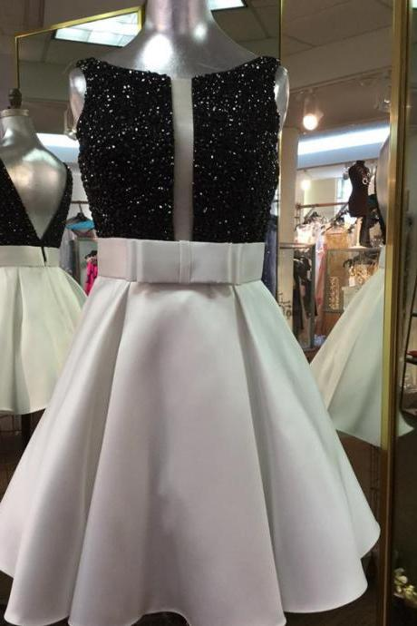 Short Prom Dresses,Black Crystal Cocktail Dresses,Silver Satin Prom Dresses,Mini Dresses 2017