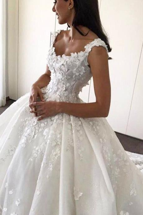 Bridal Dresses,Lace Flowers Appliques Wedding Dresses,Ball Gowns Bridal Dresses,Chapel Train Wedding Dresses,Scoop Neckline Wedding Dresses,Wedding Dresses 2017