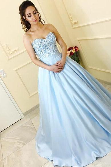 Cute Lace Flowers Appliqued Prom Dresses,Blue Satin Ball Gowns Engagement Wedding Dresses,Sweep Train Elegant Formal Dresses 2017