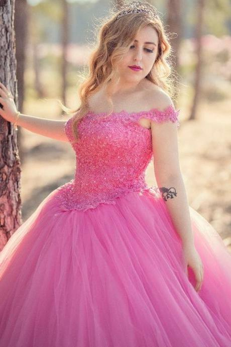 Pink Appliqued Corset Ball Gown Prom Dresses,Butterfly Appliques Engagement Dresses,Photography Prom Dresses