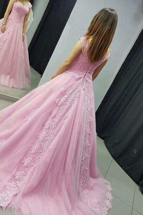 Off the Shoulder Sweep Train Prom Dresses Ball Gown,Lace Appliqued Prom Dresses 2017,Pink Bridal Dresses