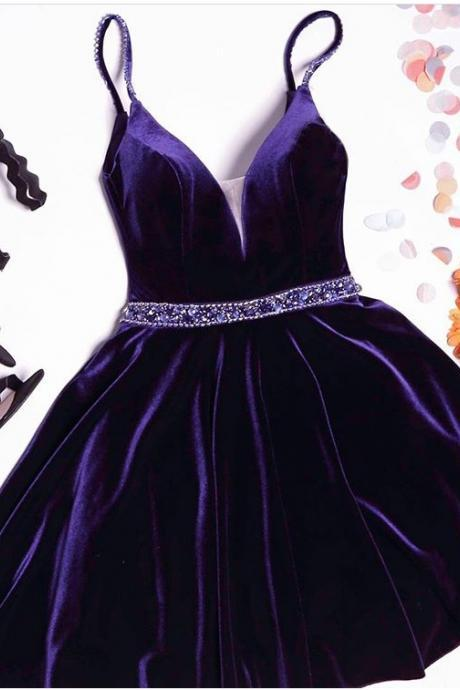 Beaded Navy Blue Velvet Cocktail Dresses,Purple Cute Homecoming Dresses,Burgundy Short Prom Dresses Velvet