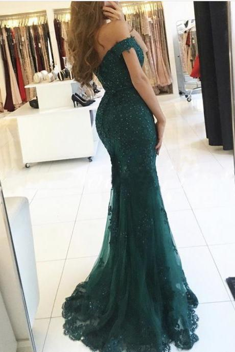 Teal Off The Shoulder Prom Dresses 2017,Modest Robe De Soiree,Mermaid Style Beading Tulle Formal Evening Gowns Party Dress,Graduation Dresses Lace