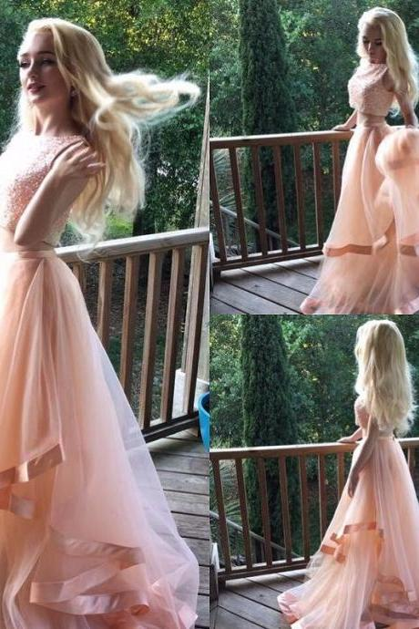 Coral Two Piece Prom Dresses 2017 Sexy Vestidos De Formatura Girls Formal Evening Gowns Beading Tulle Imported Party Dress