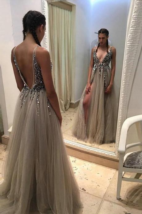 Sexy Side Split Prom Dresses 2017,Deep V Neck Backless Bead Crystal Party Gowns,Sleeveless Sweep Train Cheap Tulle Evening Dress,Graduation Dresses