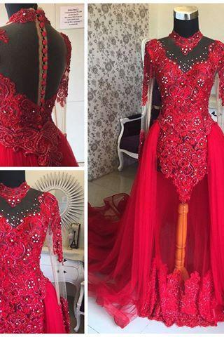 High Neckline Long Sleeves Lace Appliqued Red Muslim Bridal Dresses,Pearls Sequins Vintage Wedding Dresses with Detachable Train,Red Bridal Dresses