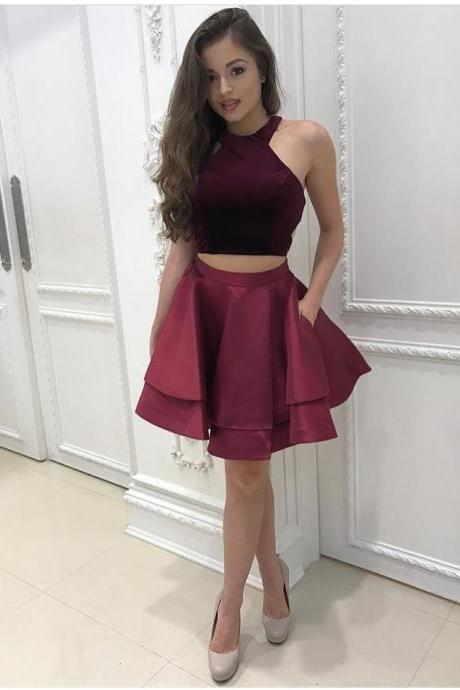 Burgundy Satin Two-Piece Homecoming Dress Featuring Halter Neck Crop Top and Short Ruffled Skirt