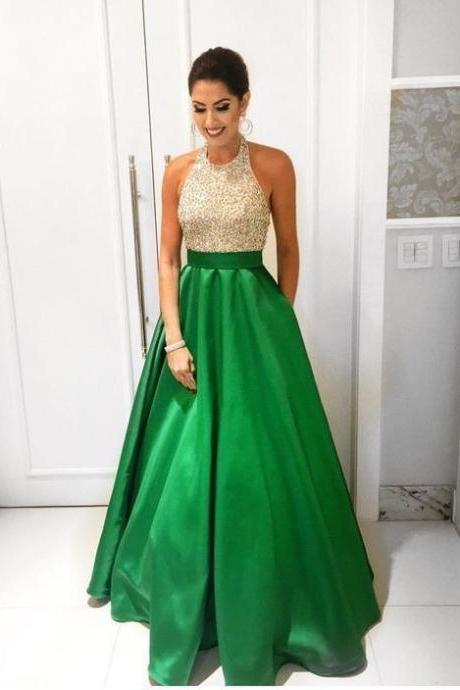 Vintage Low Back Shinning Beads Evening Dresses,Green Evening Party Dresses,Evening Gown 2018