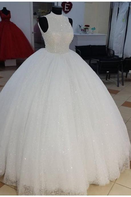 High Neck Bling Bling Ball Gown Wedding Dresses,Floor Length Bridal Dresses 2018,Pearls Embroidery Beaded Bridal Dresses
