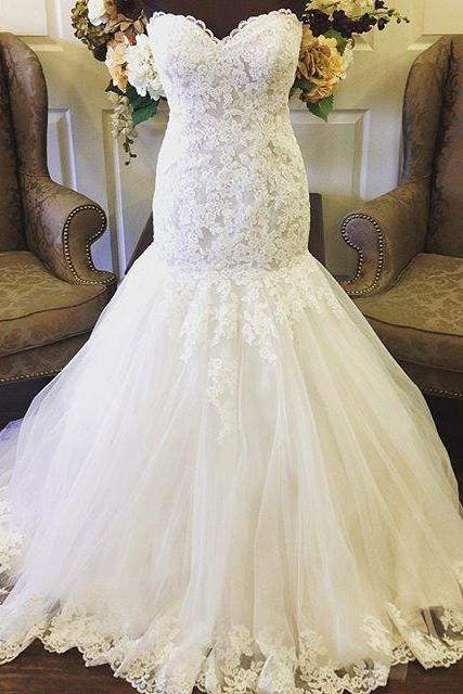 Sweetheart Mermaid Lace Bridal Dresses,Lace Up Wedding Dresses Lace,Bridal Dresses 2018