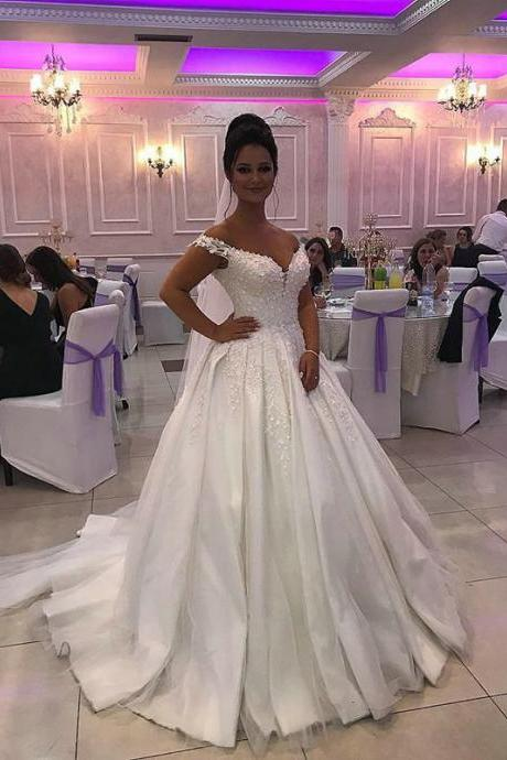 Ball Gown Satin Bridal Dresses 2019,Off the Shoulder Lace Appliqued Wedding Dresses,Beaded Court Train Wedding Dresses 2019