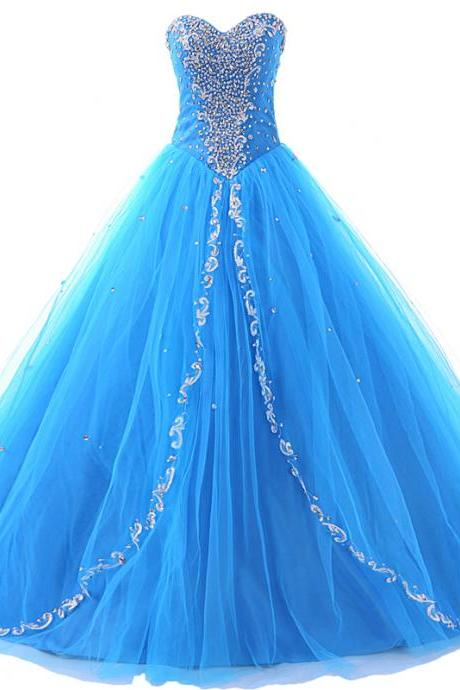 Sparkling Blue Prom Dresses Sweetheart Beaded Ball Gown Quinceanera Dresses,Princess Style Prom Dresses Formal Gowns
