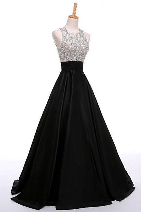 Black Satin A-Line Prom Gown Featuring Sequinned Jewel Neck Sleeveless Bodice