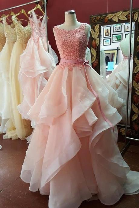Lace Top Ball Gown Prom Dresses,Scoop Neckline Pink Organza Prom Dresses Long with Bow Belt,Party Dresses 2017