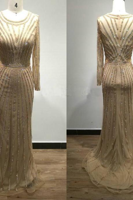 Luxury Evening Dress,Long Sleeves Evening Gown,Champagne Gold Prom Dress,Mermaid Evening Dress