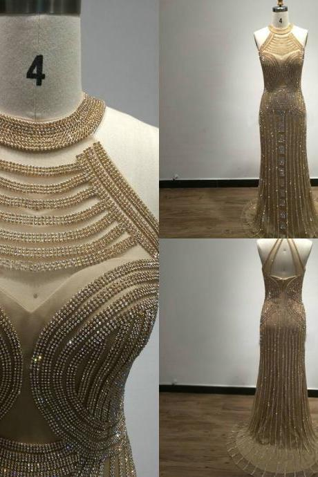 Mermaid Evening Gowns,Sleeveless Evening Dress,Shinning Prom Gowns,Formal Dress,Crystal Evening Dress,Luxury Prom Dress