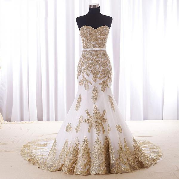 Real wedding dress gold lace appliques bridal dresses for White and gold lace wedding dress